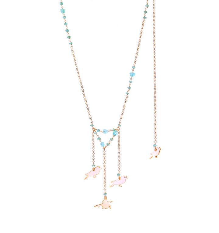 loroetu, collana con uccellini, rose gold, birds necklace