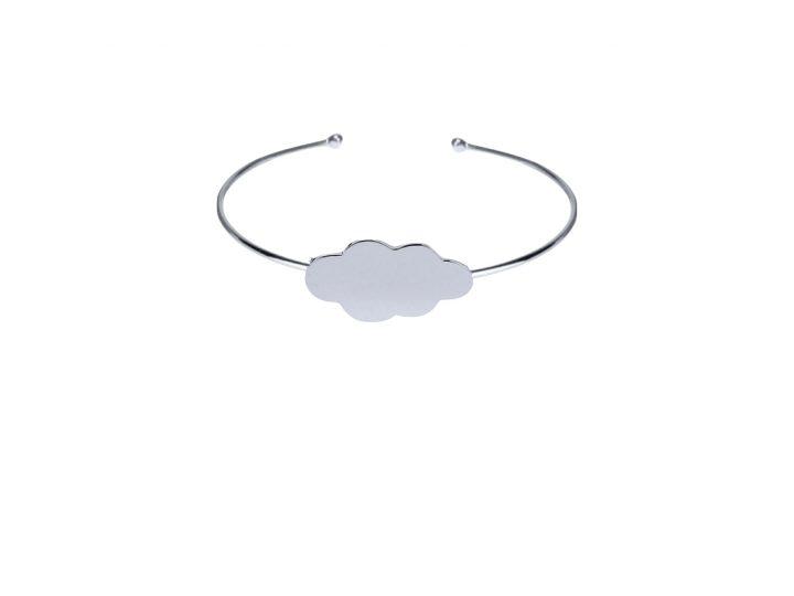 loroetu, bracciale rigido rodio nuvola, cloud rhodium bangle