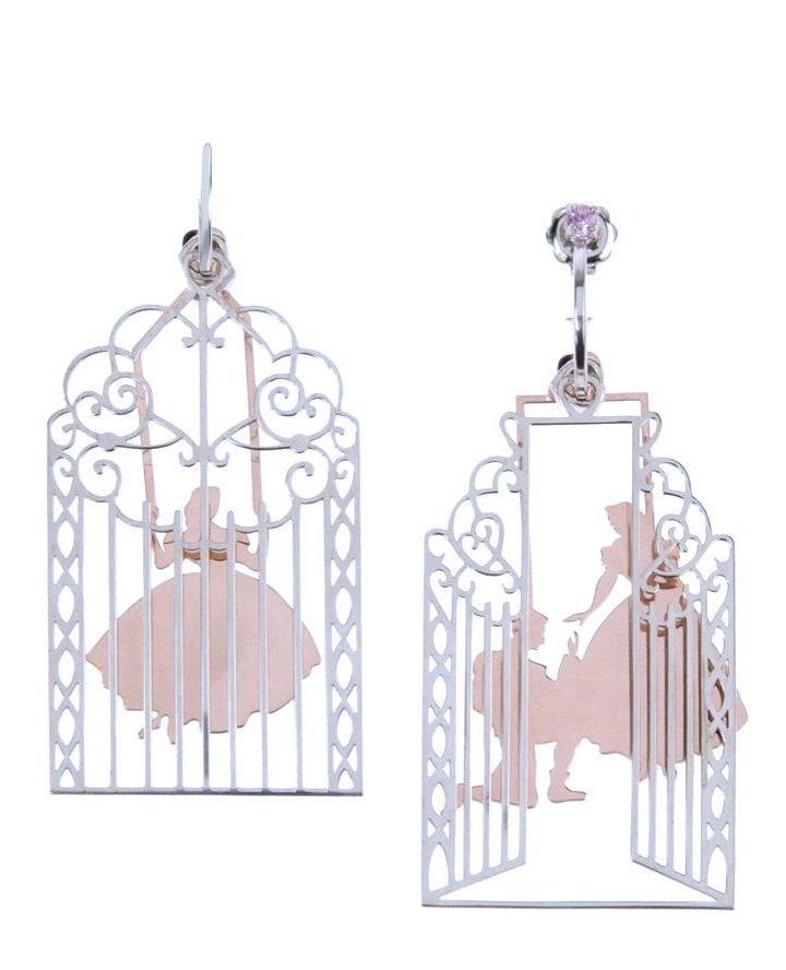 loroetu, proposta principe alla principessa gabbia, argento oro rosa orecchini