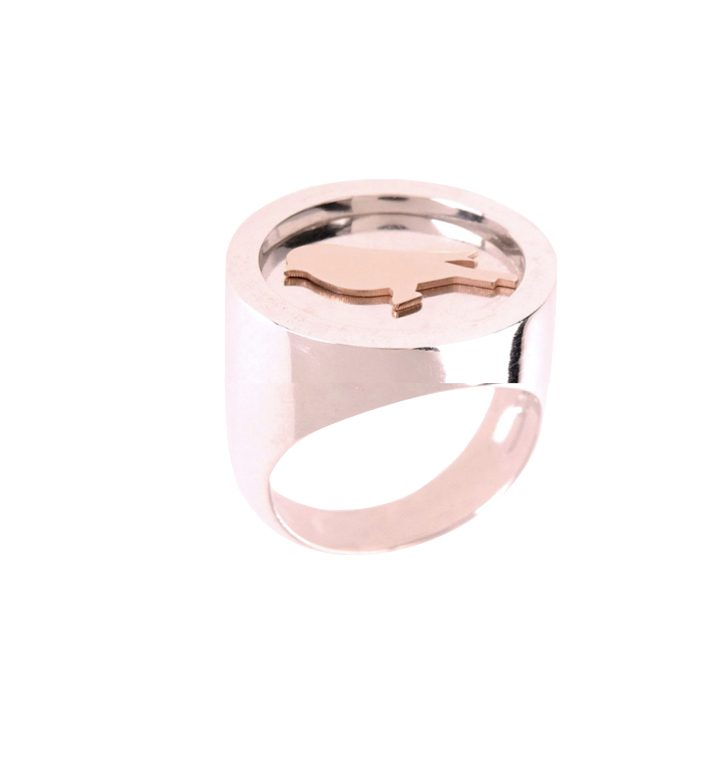 loroetu, anello chevalier oro rosa uccellino, bird rose gold chevalier ring