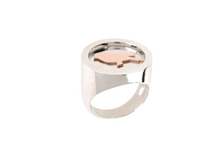 loroetu, anello chevalier argento uccellino, bird silver chevalier ring