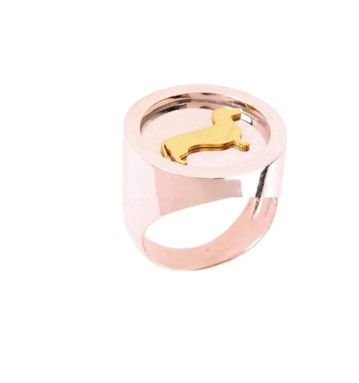 loroetu, anello chevalier bassotto, dachshund chevalier ring