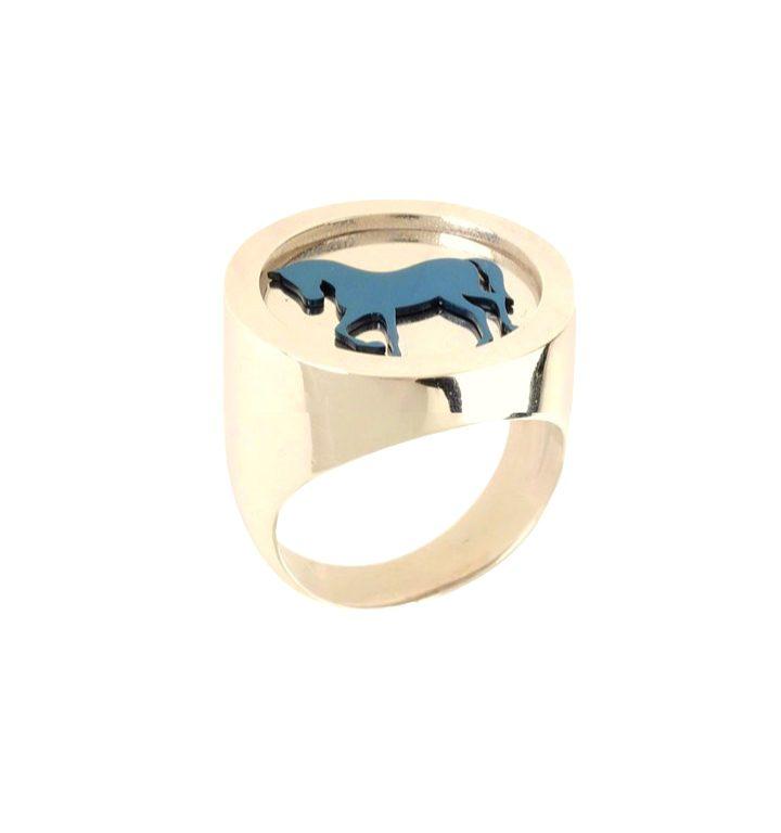 loroetu, anello chevalier oro cavallo, horse gold chevalier ring