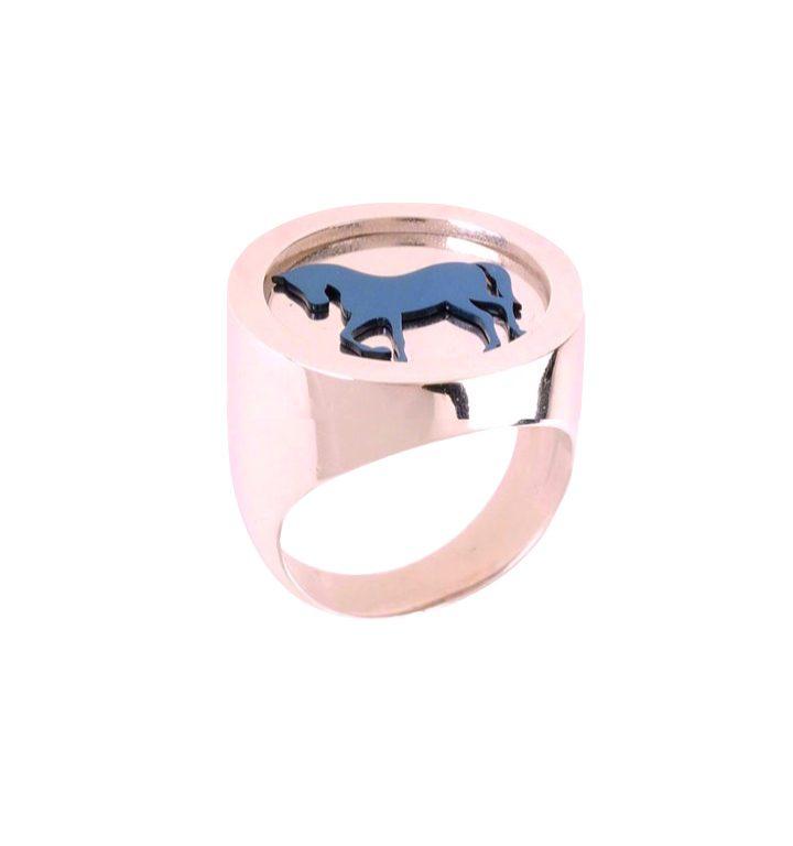 loroetu, anello chevalier cavallo, horse rose gold chevalier ring