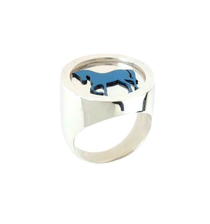loroetu, anello chevalier argento cavallo, horse silver chevalier ring