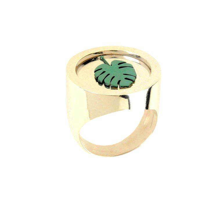 loroetu, anello chevalier oro monstera, monstera chevalier ring