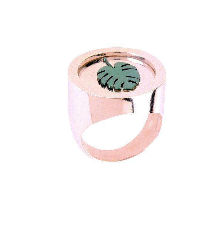 loroetu, anello chevalier monstera, monstera chevalier ring, rose gold