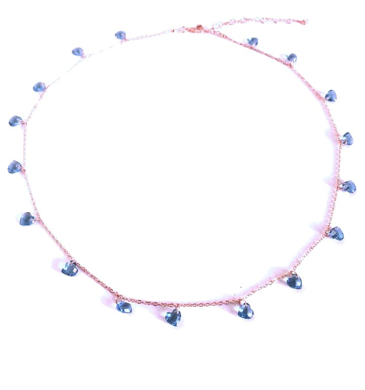 loroetu, collana cristalli blu
