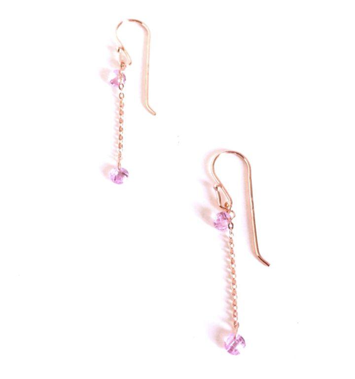 loroetu, orecchini cristalli rosa