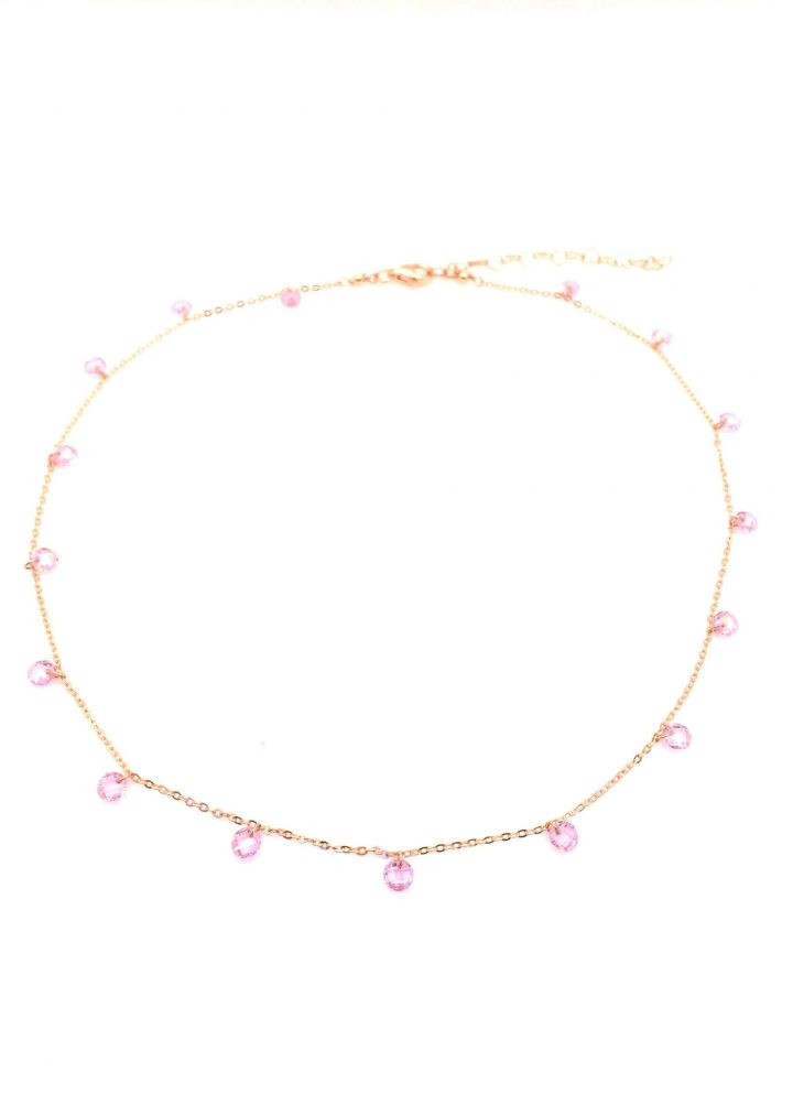 loroetu, collana cristalli rosa