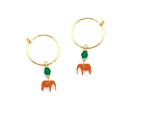 loroetu, orecchini cerchio con micro elefantini