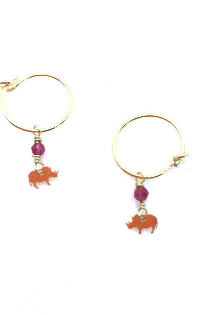 loroetu, orecchini cerchio con micro rinoceronti