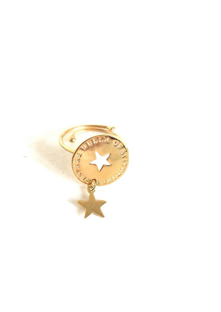 loroetu, anello oro con stella e scritta, gold star ring