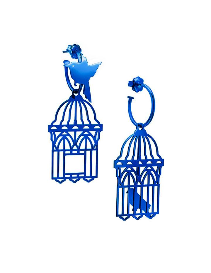 loroetu, orecchini uccellini e gabbia, blu blue, bird and cage earrings