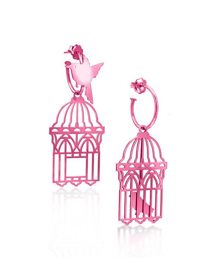 loroetu, orecchini uccellini e gabbia, fucsia, bird and cage earrings