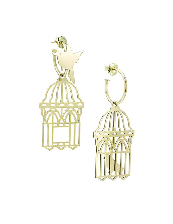 loroetu, orecchini uccellini e gabbia, oro gold, bird and cage earrings