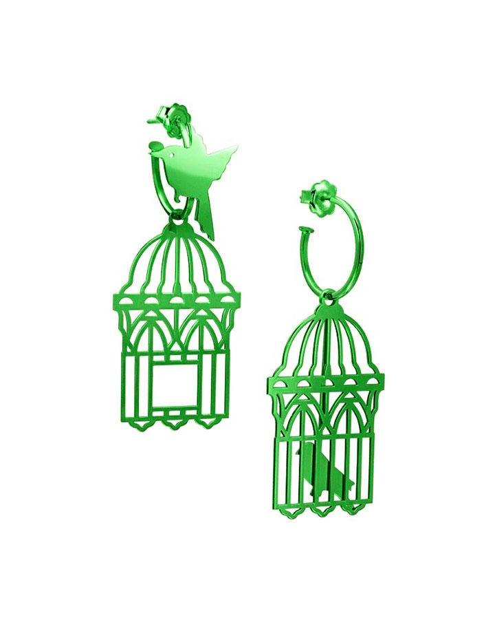 loroetu, orecchini uccellini e gabbia, verde green, bird and cage earrings