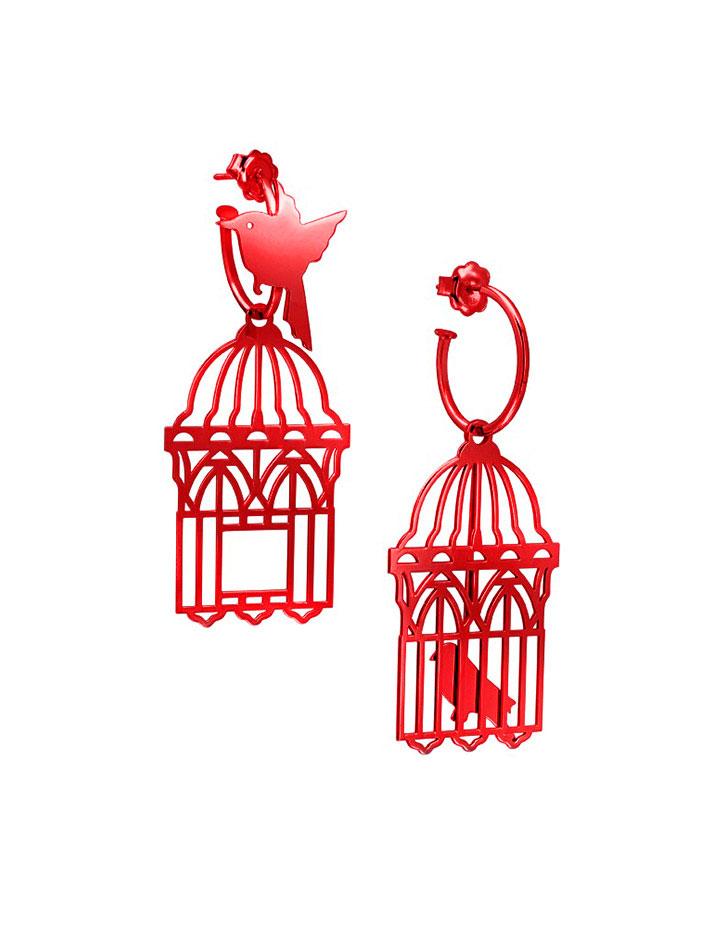 loroetu, orecchini uccellini e gabbia, rosso red, bird and cage earrings