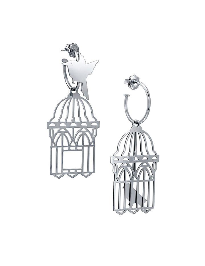 loroetu, orecchini uccellini e gabbia, argento silver, bird and cage earrings