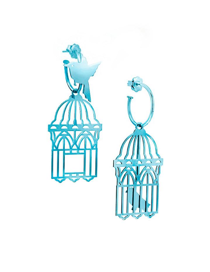 loroetu, orecchini uccellini e gabbia, turchese turquoise, bird and cage earrings