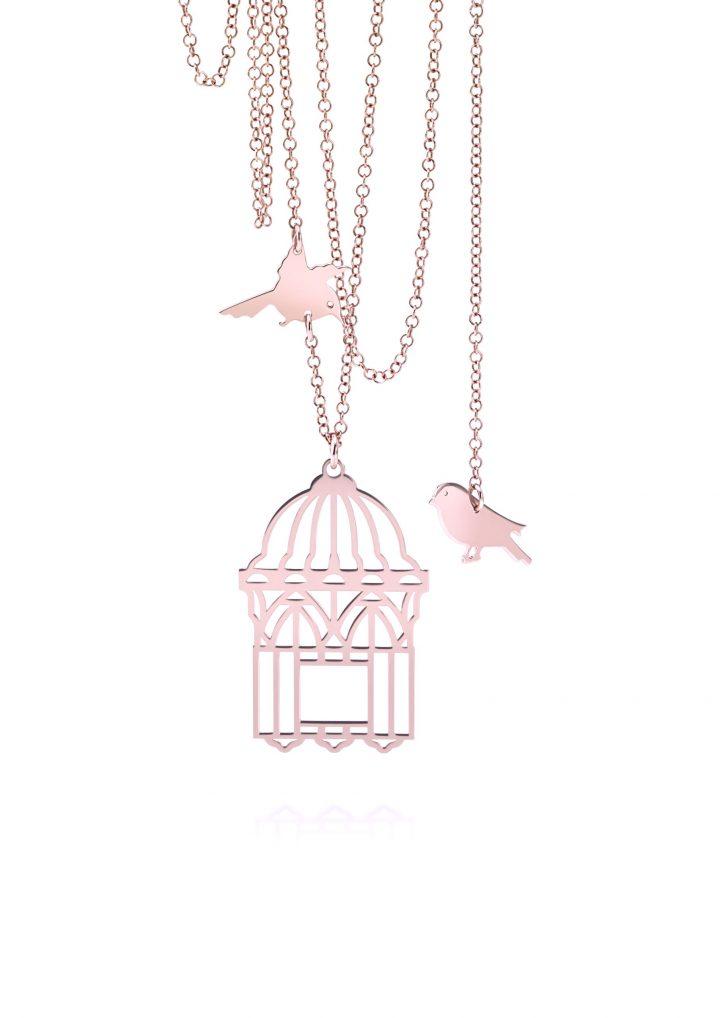 loroetu, collana uccellini e gabbia , rose gold, bird and cage necklace