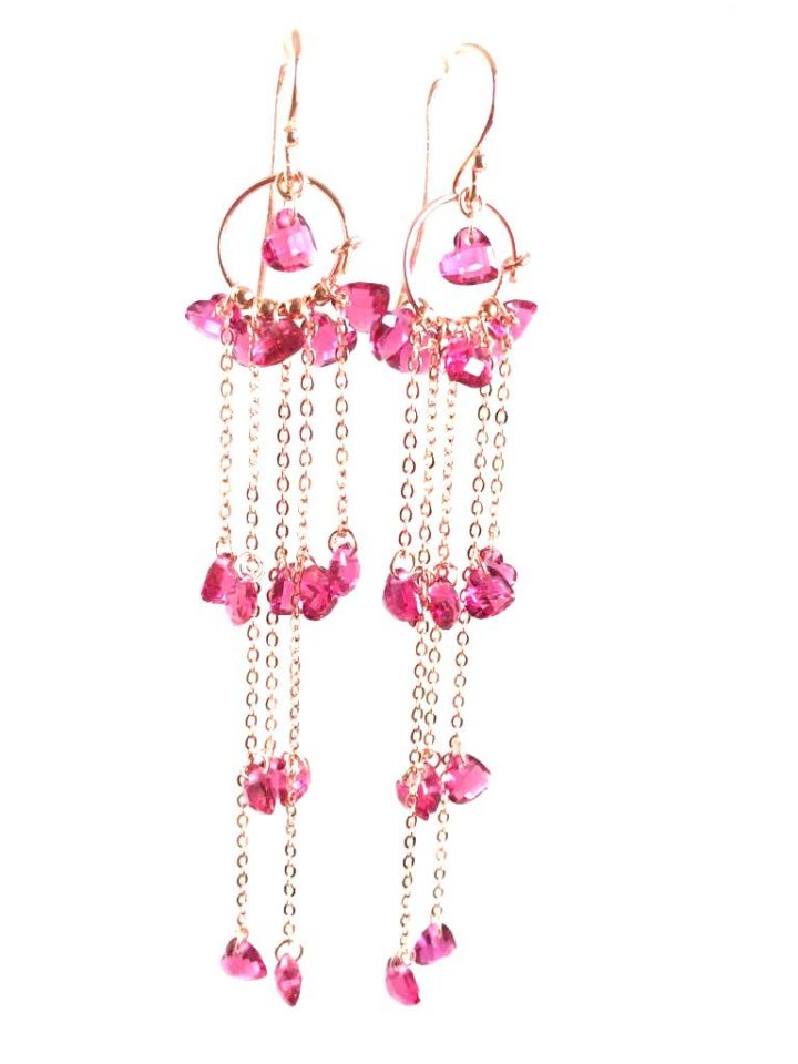 loroetu, orecchini chandelier fucsia, fuchsia chandelier earrings