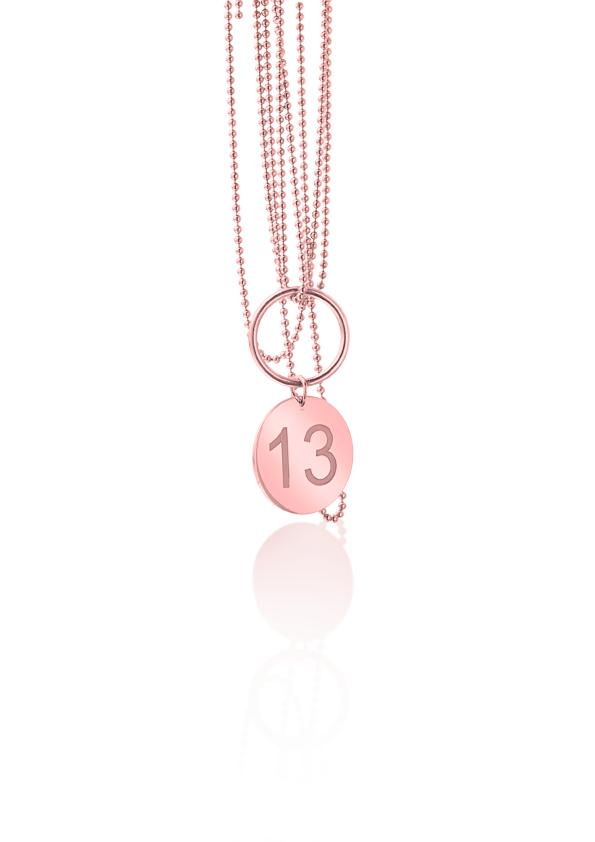 loroetu, collana oro rosa con numero personalizzabile