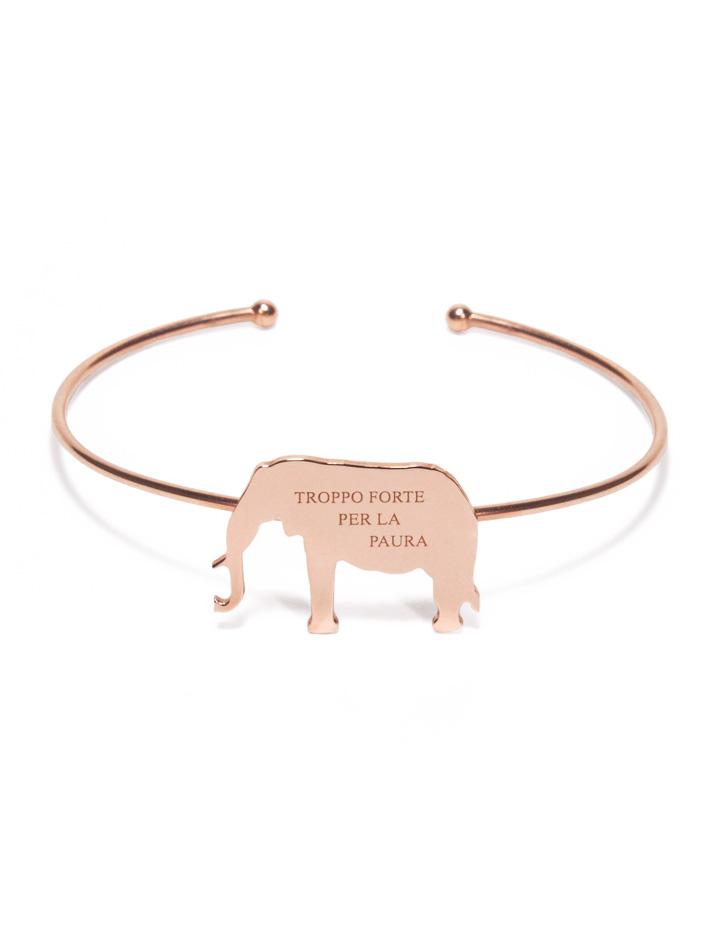 loroetu, bracciale rigido oro rosa con elefante
