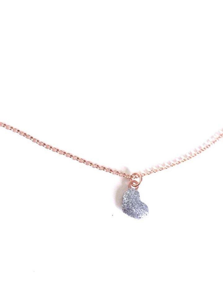 loroetu, collana con ciondolo a cuore e glitter argento