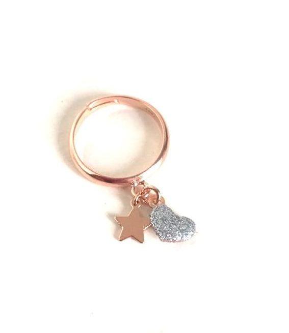 loroetu, anello con stella e cuore con glitter argento