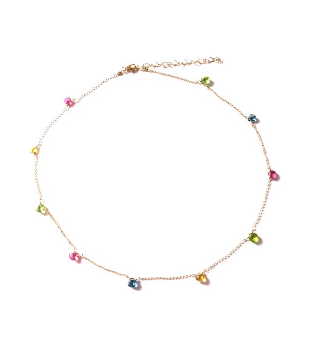 loroetu, collana con gemme multicolore, multicolor gems necklace