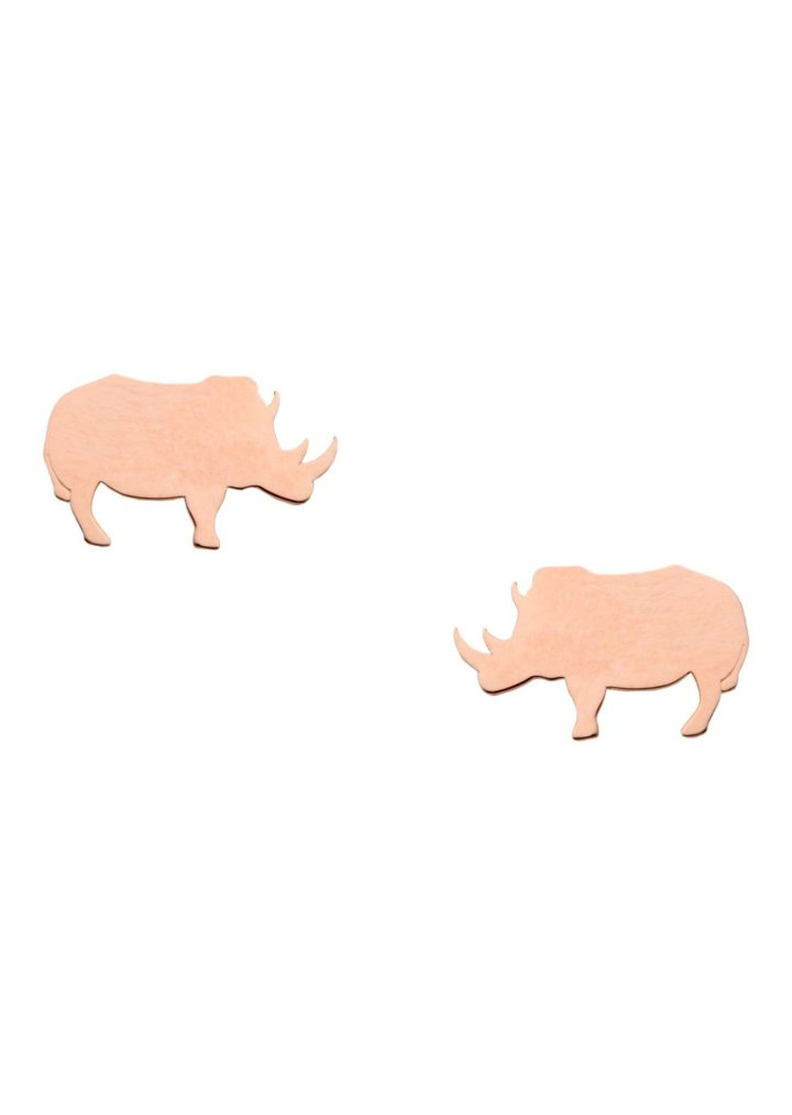 loroetu, orecchini rinoceronte, rose gold, rhino earrings