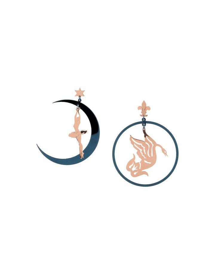 LOROETU, orecchini oro rosa e blu ballerina e cigno, rose gold and blue earrings with ballerina and swan