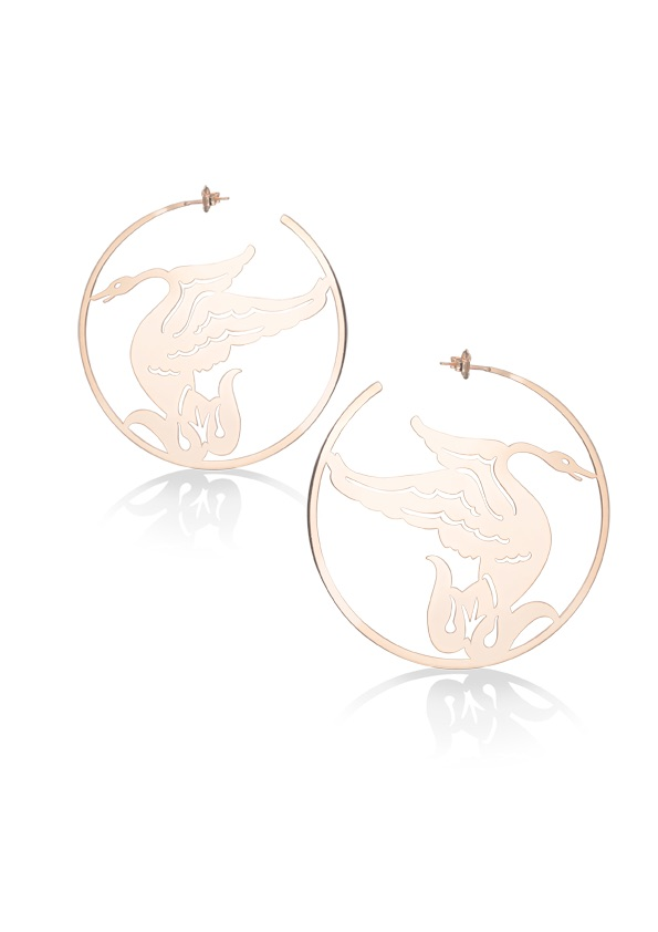 loroetu, orecchini oro con cigni, swans gold earrings